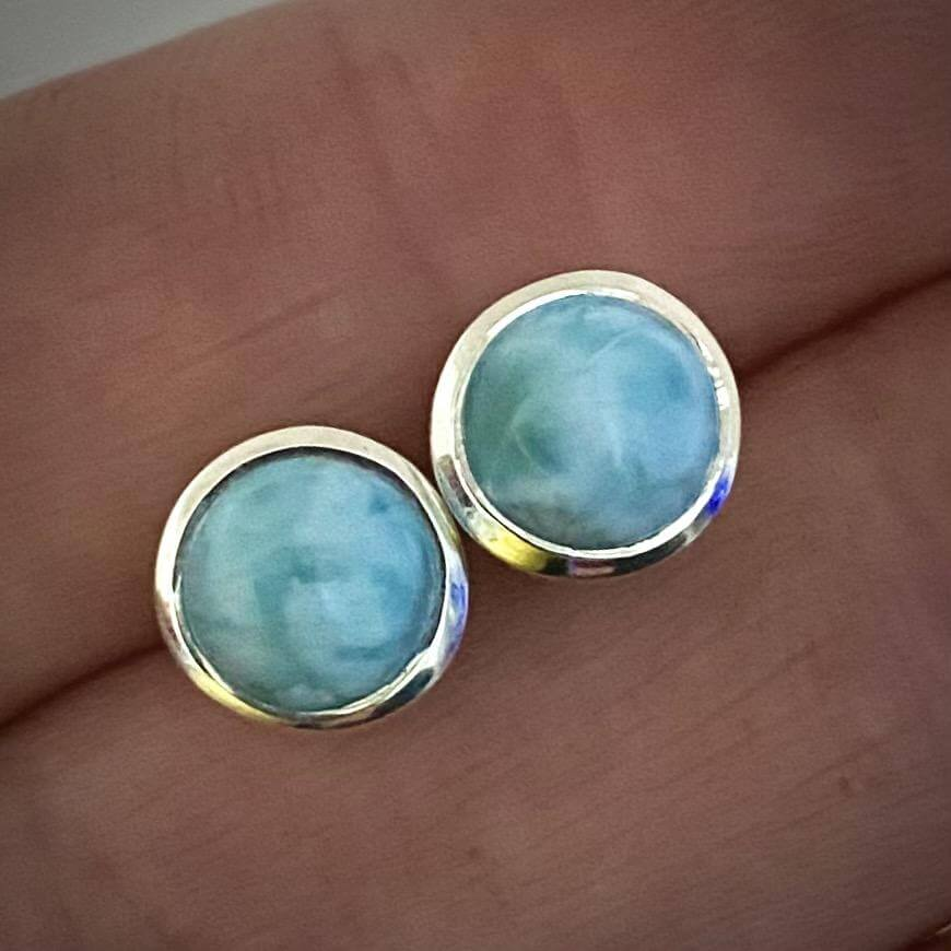 Laihas Classic Round Larimar Stud Earrings - Laihas Bohemian Dreaming