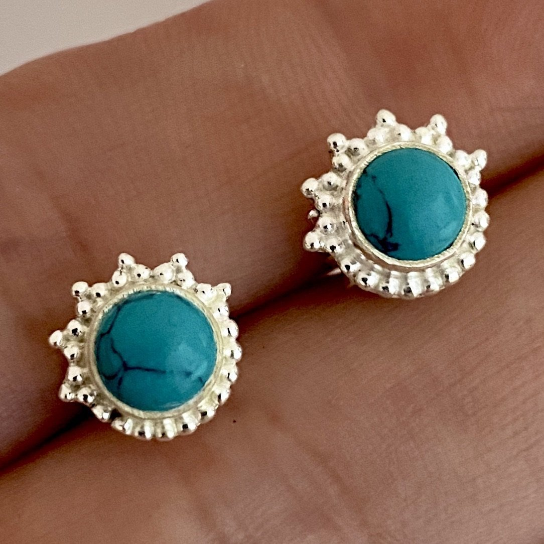 Laihas Handcrafted Designer Sunshine Turquoise Earrings- Simple Studs - Laihas Bohemian Dreaming