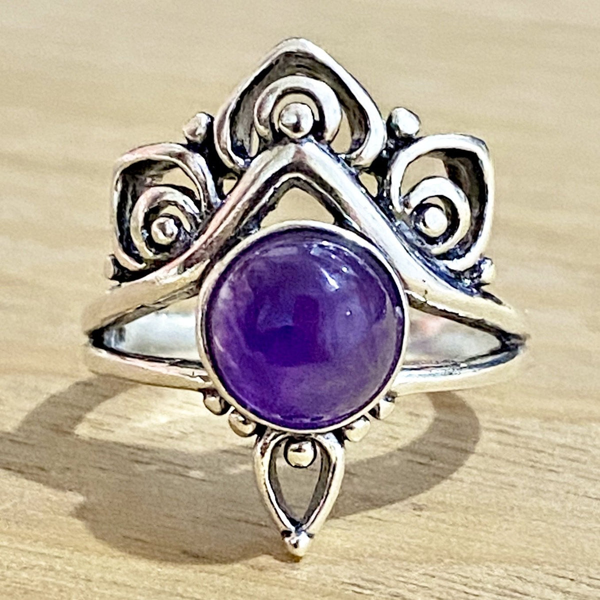 Laihas Handcrafted Romantic Lotus Amethyst Ring Ass Sizes - Laihas Bohemian Dreaming