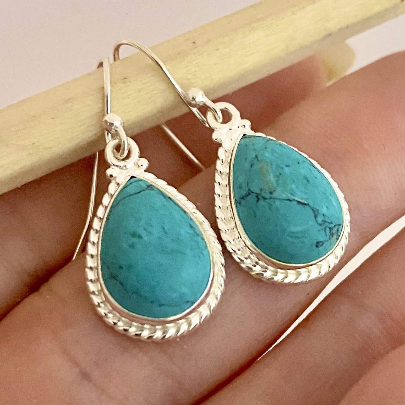Laihas Handcrafted Twisted Raindrop Turquoise Earrings - Laihas Bohemian Dreaming