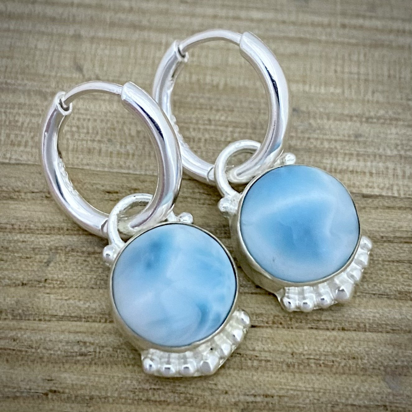 Laihas Large Elegant Round Larimar Hoop Earrings - Laihas Bohemian Dreaming