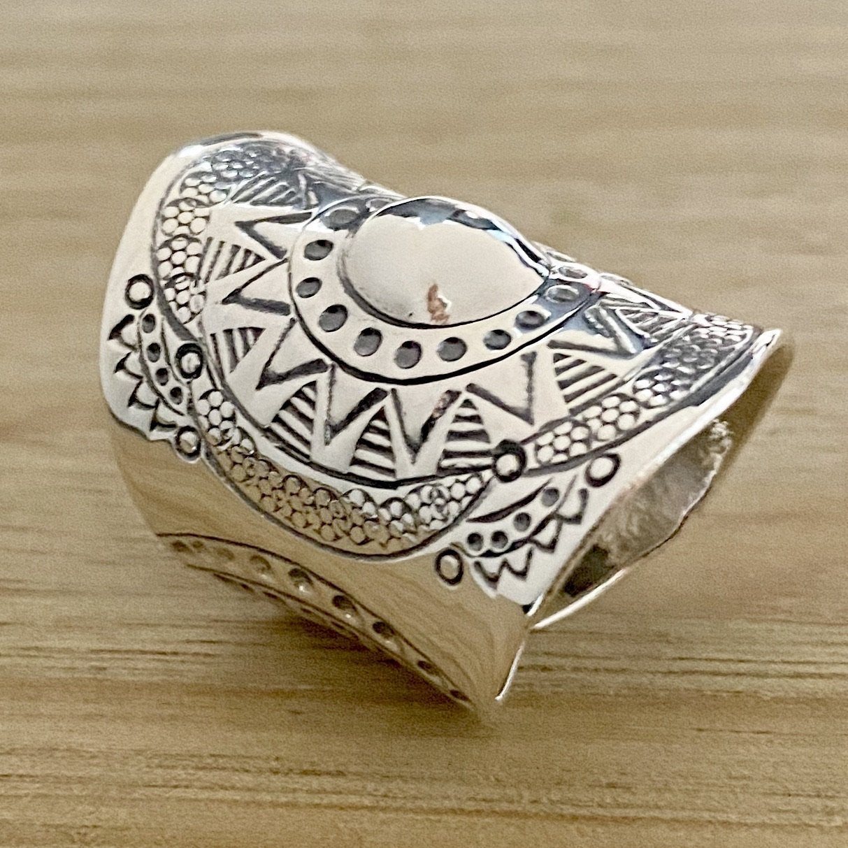 Laihas Statement Gypsy Cuff Sterling Silver Boho Ring Adjustable - Laihas Bohemian Dreaming