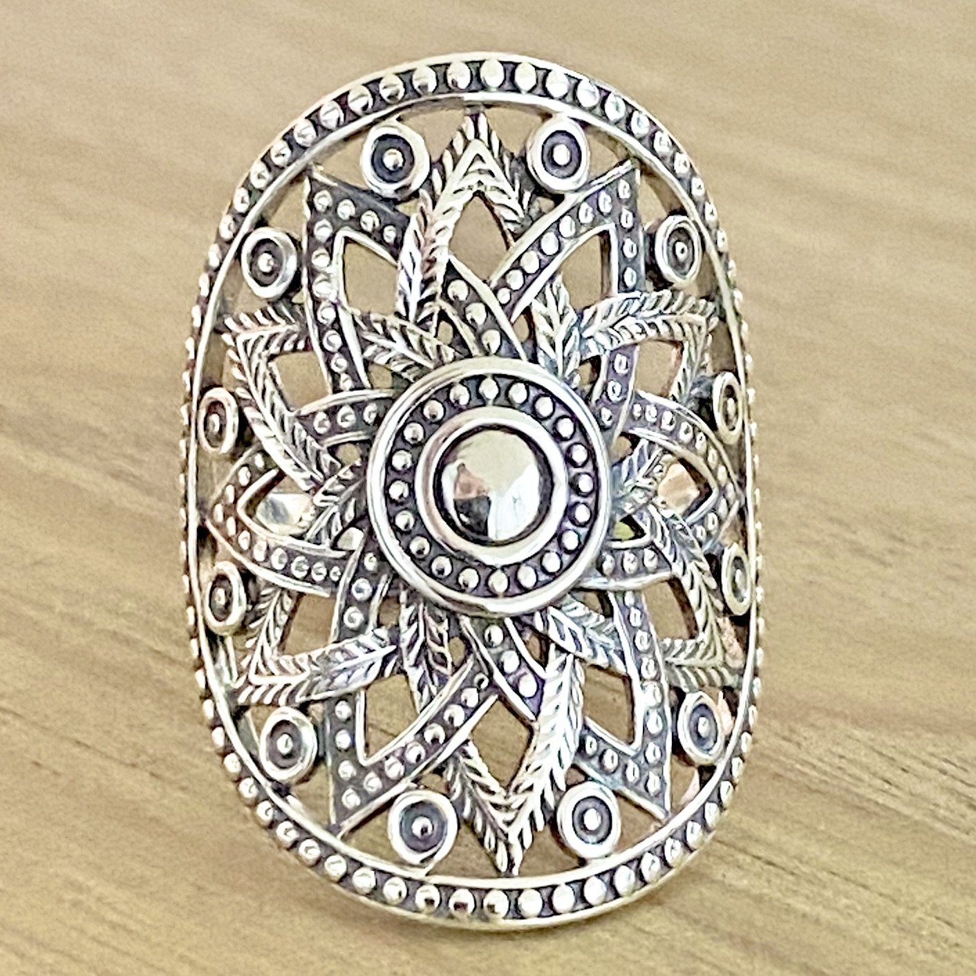 Laihas Statement Sterling Silver Tribal Flower Boho Ring Ass sizes - Laihas Bohemian Dreaming