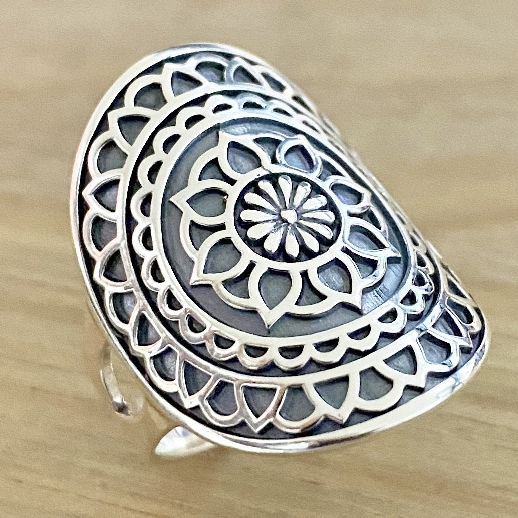 Laihas Sterling Silver Statement Catching Dreams Mandala Boho Ring Ass sizes - Laihas Bohemian Dreaming