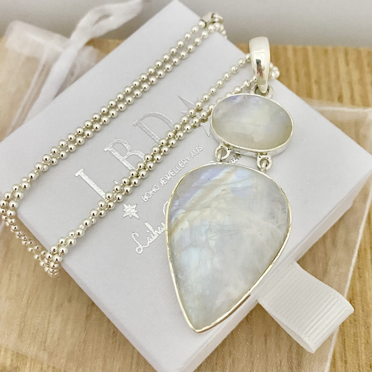 Laihas XXXLARGE Oval on Teardrop Rainbow Moonstone Necklace -2- - Laihas Bohemian Dreaming