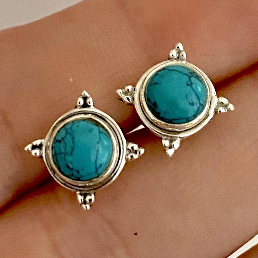 Laihas Zahli Round Turquoise Stud Earrings - Laihas Bohemian Dreaming