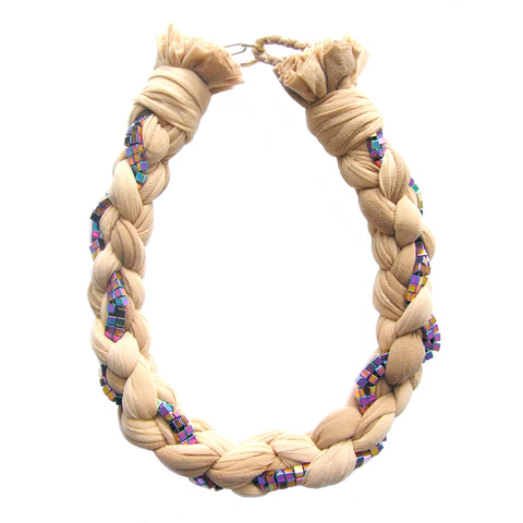 PURPLE BAMBOO nude braided necklace with hematine