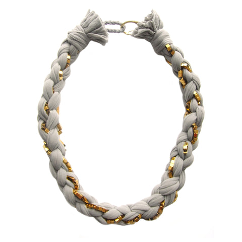 BAMBOO GREY braided necklace with gold hematine