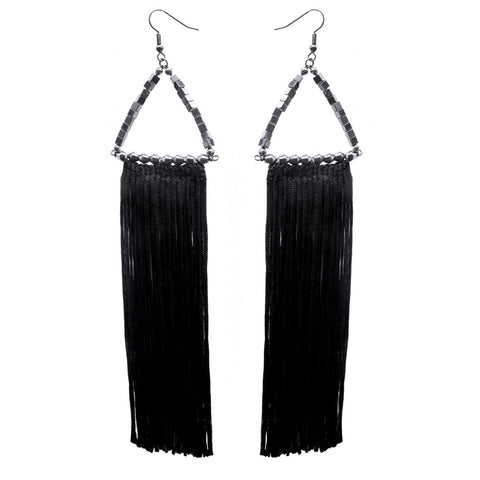 TOMOE black fringed earrings