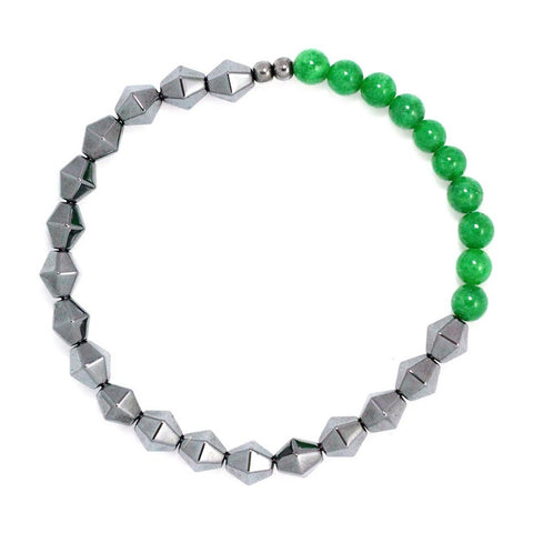 HEMA GREEN bracelet with green calcite and hematine