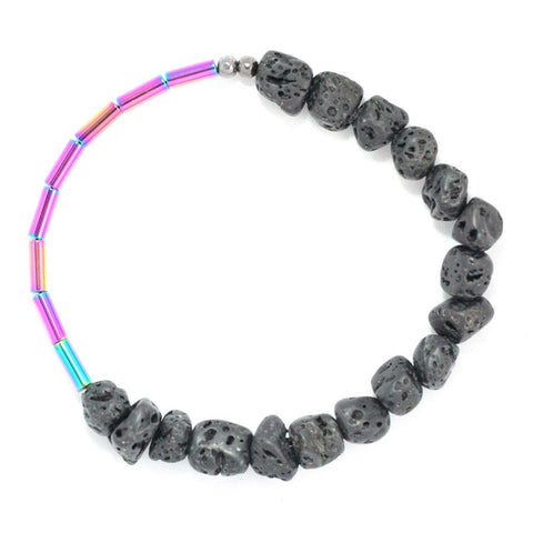 LAVA MAGNE bracelet with lava and purple hematine