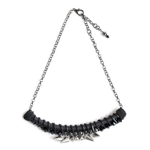 BLACK LEATHER TWIST necklace with stainless steel studs