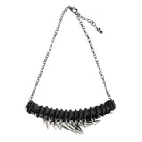 BLACK SHOCK TWIST necklace with stainless steel studs