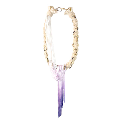 TOMOE braided necklace with dip-dyed fringing