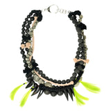 TWO PLANETS chunky statement necklace with detachable neon tassles