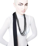 TOMOE MERCURY hematine necklace with fringed ponytail