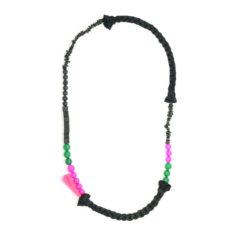 LAVAMAZONIA long braided necklace with jade