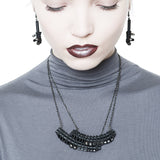 BLACK ARC mini-necklace with PVC, glass and hematine