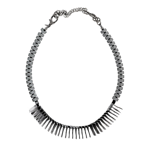 1000 MOONSPOTS single strand necklace - gunmetal