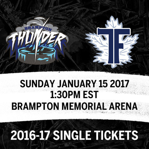 January 15 2017 - 1:30PM - Brampton Thunder vs. Toronto Furies