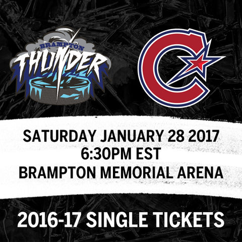 January 28 2017 - 6:30PM - Brampton Thunder vs. Les Canadiennes de Montreal