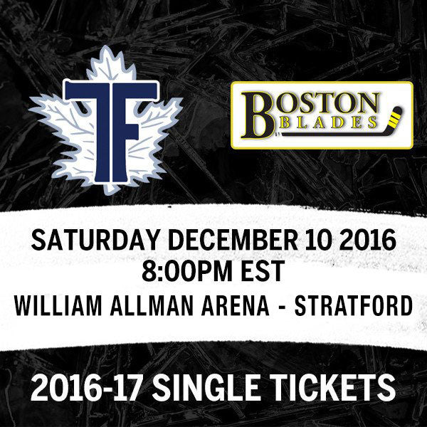 December 10 2016 - 8:00PM - Toronto Furies vs. Boston Blades