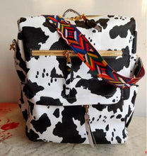 Load image into Gallery viewer, Cow Print Guitar Strap Backpack