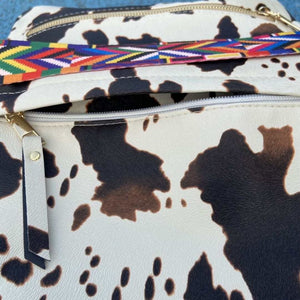 Cow Print Guitar Strap Backpack