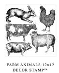 FARM ANIMALS 12×12 DECOR IOD STAMP™