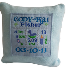 Load image into Gallery viewer, Birth Announcement Cushion