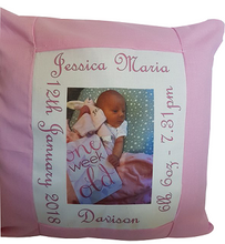 Load image into Gallery viewer, Photo Birth Announcement Cushion