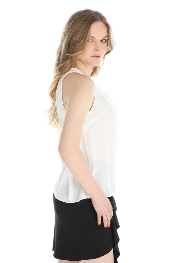 Top in georgette con rouches sul davanti ORGA