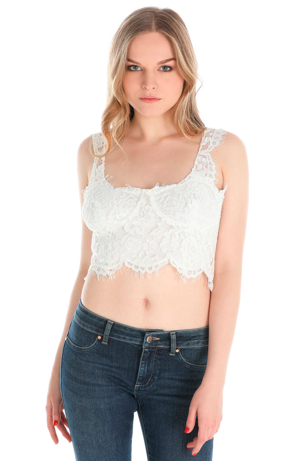 Crop-top  in pizzo smerlato SPANISHIA
