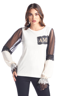 "T-shirt manica lunga con plumetis georgette e pizzo con patch ""AMA"" RONMY"