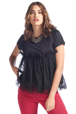 T-shirt con arriccio in tulle HIGHT