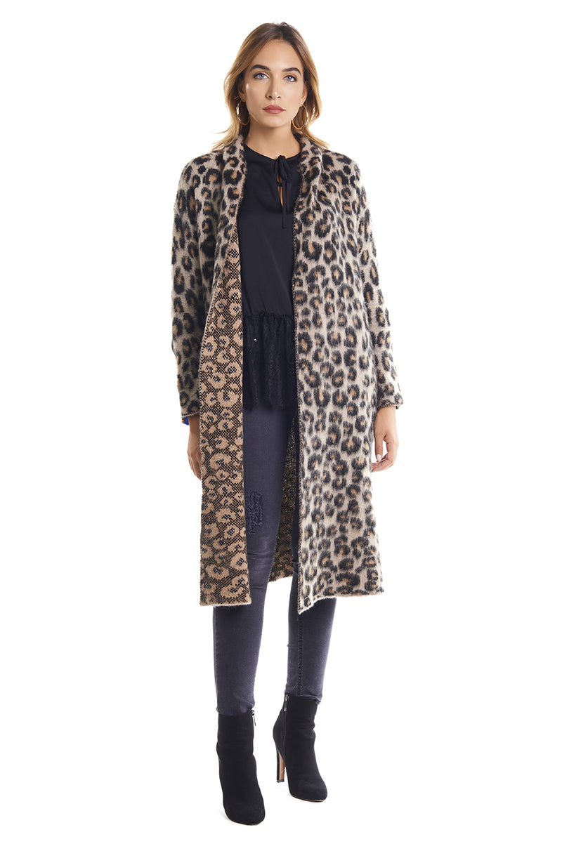 Cardigan lungo fantasia animalier con righe multicolor ANIME