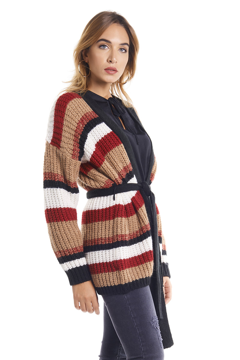 CARDIGAN con righe multicolor con cintura TIREX