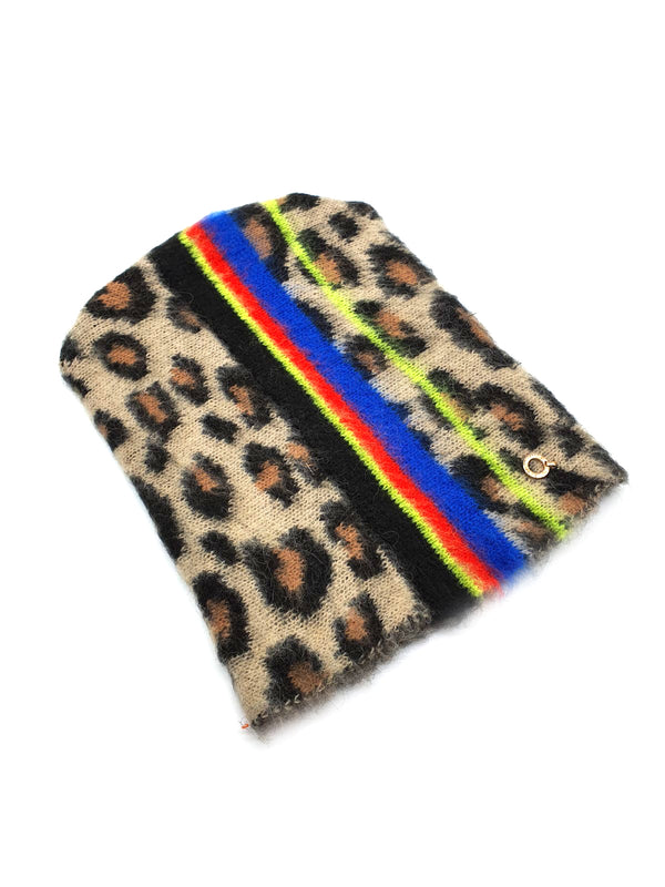 Cappello con fantasia animalier e righe multicolor HEADLINE