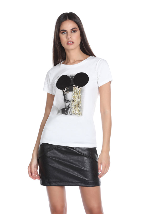 T-shirt HARRY mezza manica kiss-happy-sweet con frange paillettes