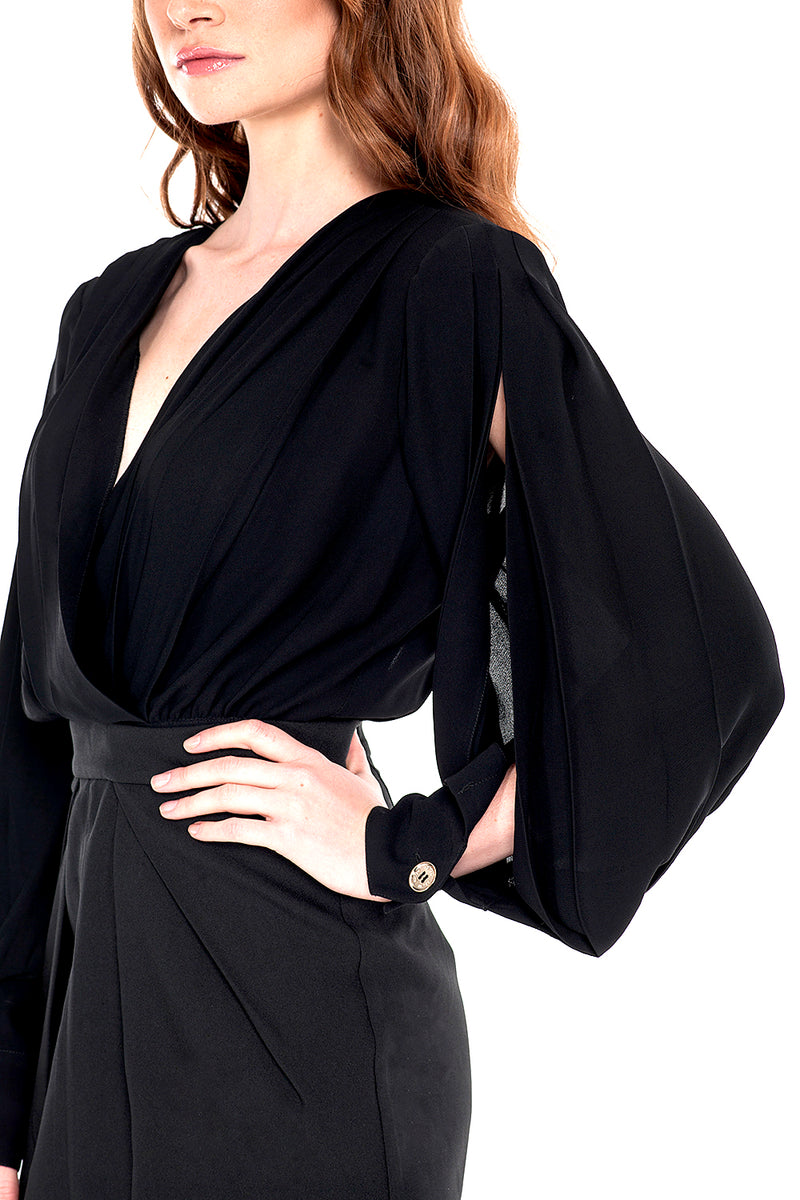 Abito corto con top in georgette black staccabile e gonna in tessuto tecnico ROMANA