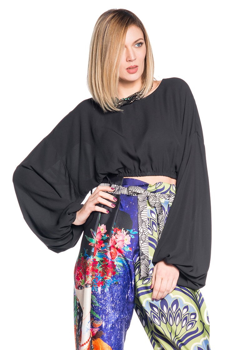 Crop top in georgette con maniche ampie DOLUCCHI