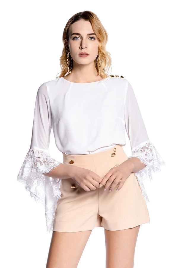 Blusa in georgette e maniche in pizzo MENTASI