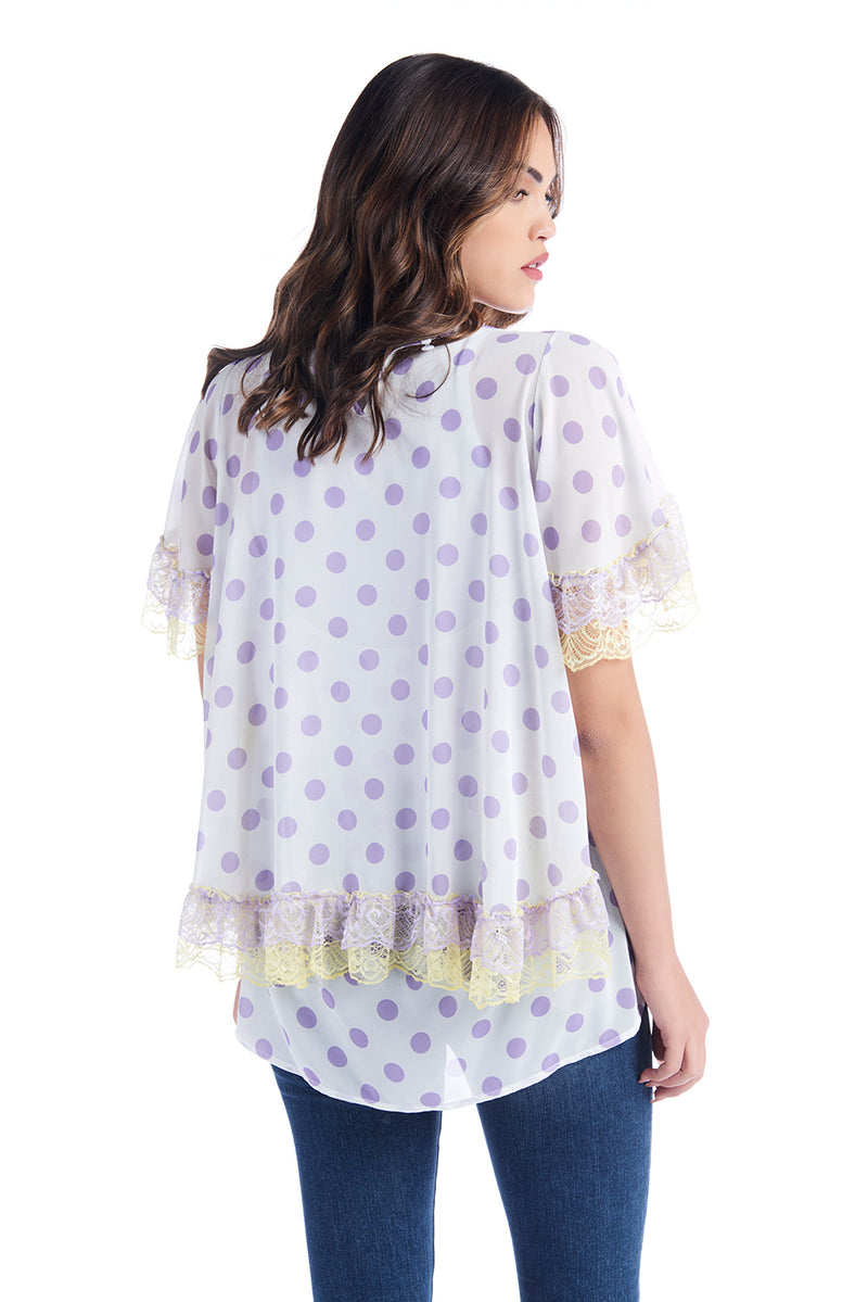 Blusa in georgette con maniche corte e gale POINS