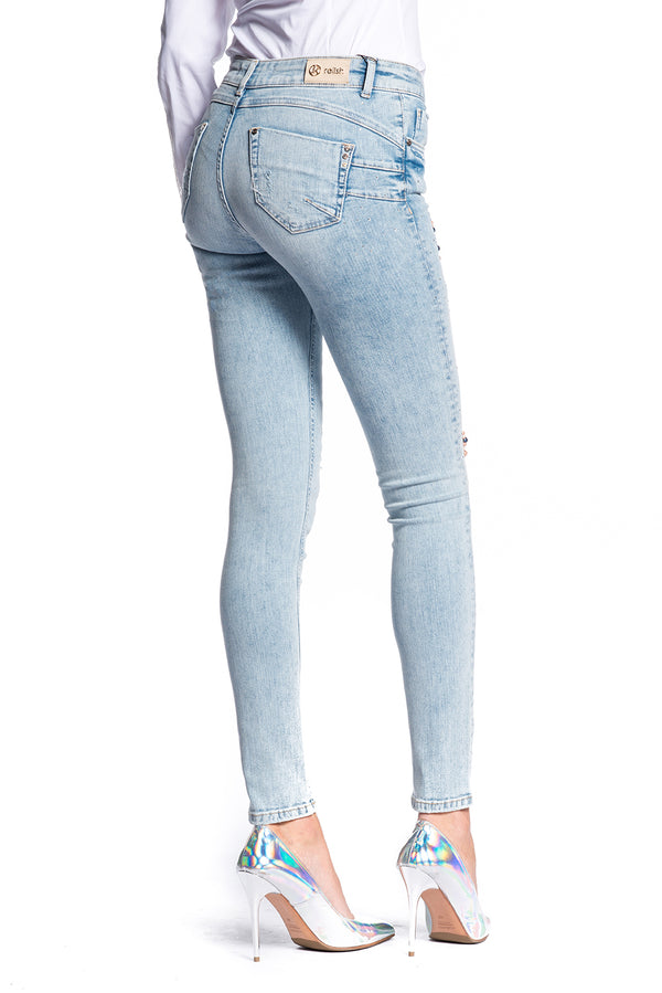 jeans in denim push-up con applicazioni gioiello FLOORA/C