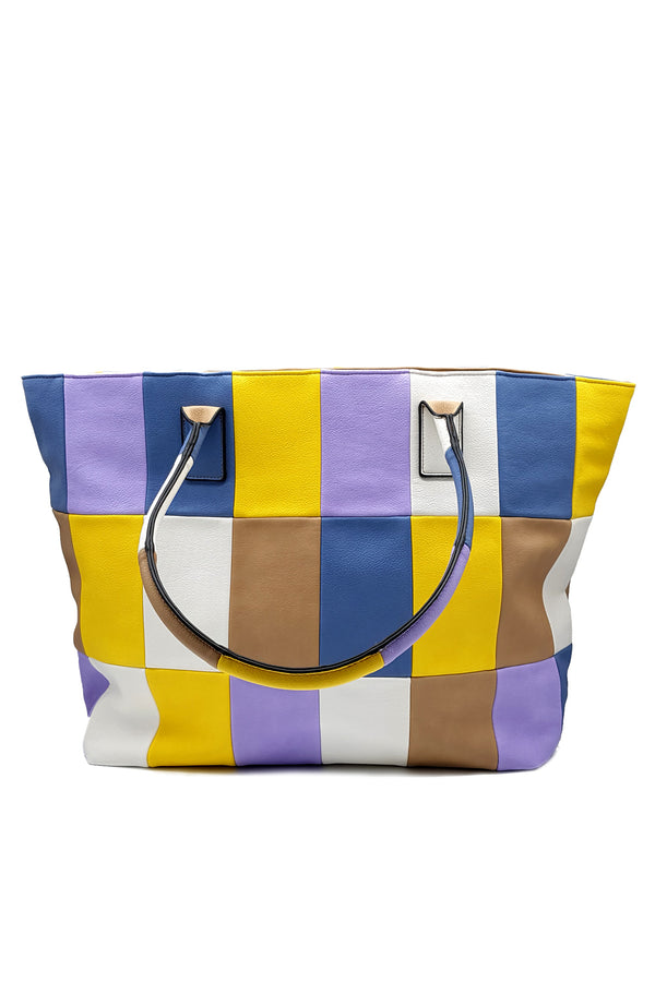 Shopping bag multicolor in ecopelle, relish fashion moda, abbigliamento femminile