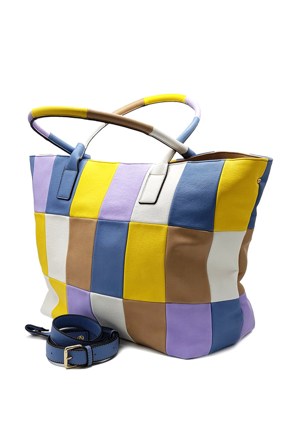Shopping bag multicolor in ecopelle SANAMENTA