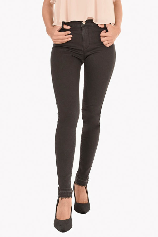 Jeggins  in denim black power stretch con fondo sfrangiato PATRIS