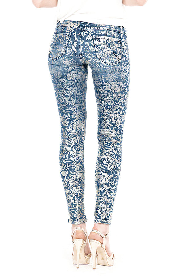 Jeans push-up  in denim con motivo floreale spalmato oro GINGER/E