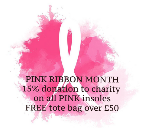 Pink ribbon breast cancer raising funds Alice Bow insoles