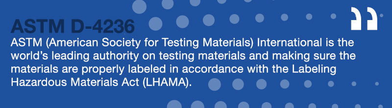 ASTM D 4236 Quote - adhesive spots